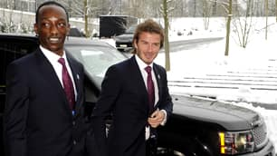 English bid ambassador Eddie Afekafe and soccer superstar David Beckham arrive Thursday at FIFA headquarters in Zurich.