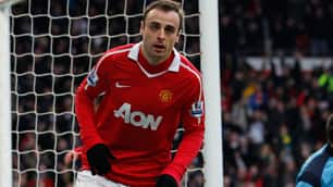 Manchester United's Dimitar Berbatov celebrates a goal against Sunderland Sunday in England.