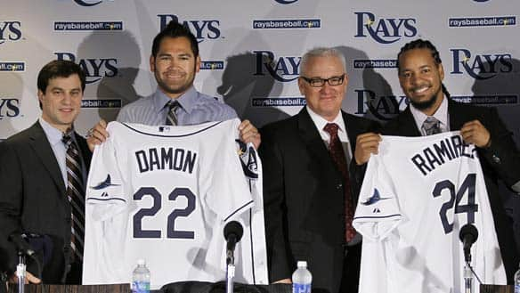 johnny damon rays. Johnny Damon, second from left
