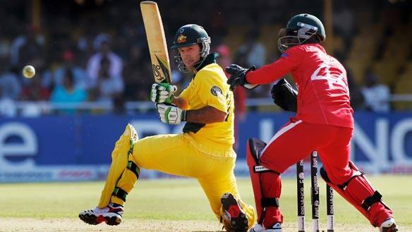 Australia captain Ricky Ponting hits in Monday's match against Zimbabwe at Sardar Patel Stadium in Ahmedabad, India.
