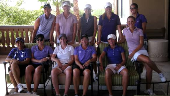 Alena Sharp of Hamilton, seated third from the right, poses with her fellow pros at the inaugural Bader/Sharp Shootout.