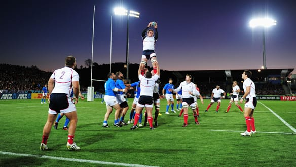 John Van Der Giessen of the United States catches the line out in a 27-10 loss to Italy at Trafalgar Park on Tuesday.