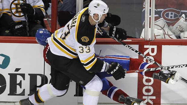 Zdeno Chara of Boston was not suspended by the NHL for his hit on Max Pacioretty of Montreal last season.