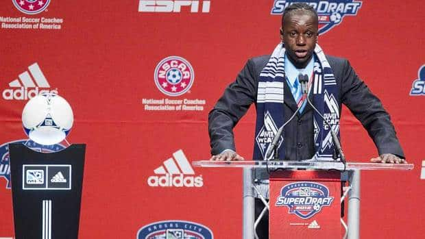 Vancoouver Whitecaps' Darren Mattocks, shown here at the MLS Superdraft, is being treated for burns sustained to his right arm and shoulder while cooking dinner.