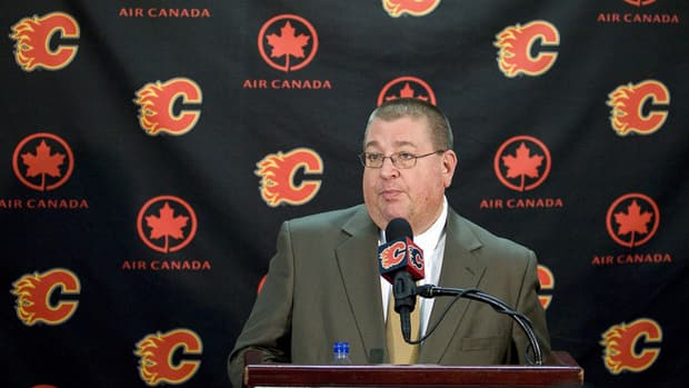 Calgary Flames general manager Jay Feaster found himself apologizing to fans Tuesday for missing the post-season for a third straight year.