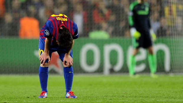 Barcelona's Lionel Messi reacts after the game against Chelsea at Camp Nou stadium in Barcelona, Spain on April 24, 2012.