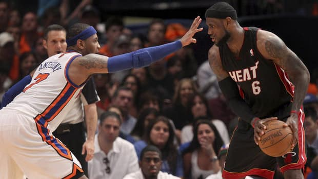 Carmelo Anthony, left, and the New York Knicks are set to take on LeBron James's Miami Heat during the first round of the NBA playoffs.