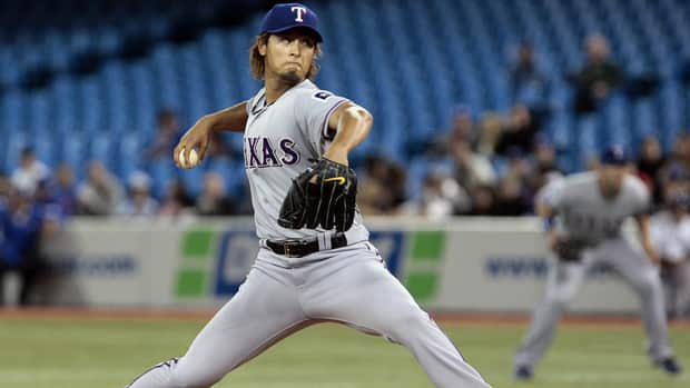 Yu Darvish gave up just four hits over seven innings, while striking out nine batters against the Toronto Blue Jays on Monday night.