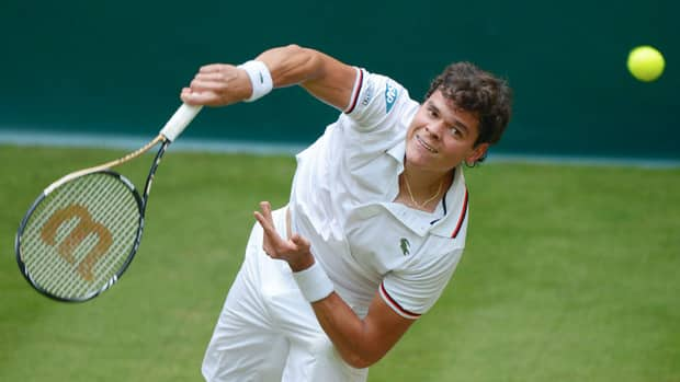 Milos Raonic during a match against Roger Federer at the Gerry Weber Open on June 15, 2012 in Halle, Germany.