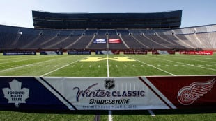Michigan Stadium is shown before an announcement about the NHL Winter Classic hockey game in Ann Arbor, Mich.