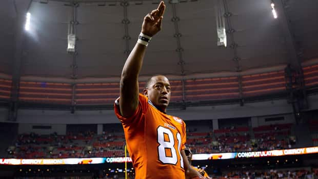 B.C. Lions' wide receiver Geroy Simon celebrates after catching a pass to become the CFL's all-time leader for receiving yards on Friday night.