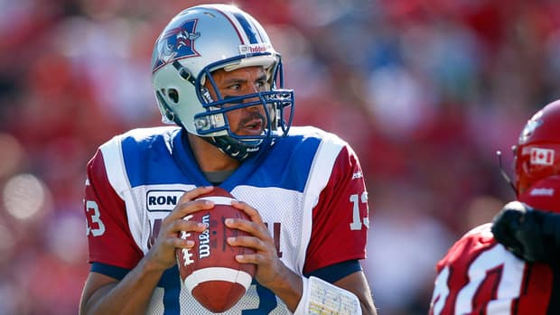 Anthony Calvillo was hurt in Montreal's 41-30 win over the Winnipeg Blue Bombers on Friday night.