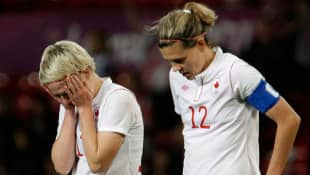 Star forward Christine Sinclair, right, was one of the players who publicly criticized the referee after Canada's controversial semifinal loss to the U.S.