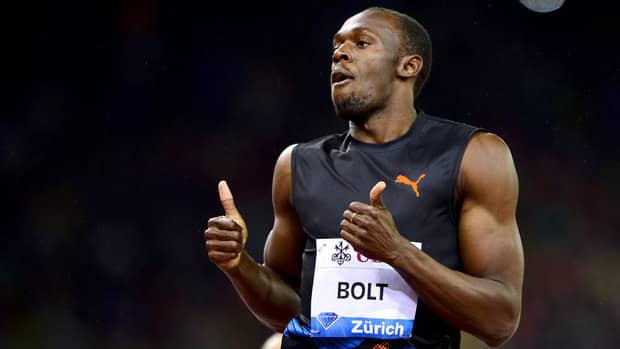 Usain Bolt celebrates his victory in the men's 200m race in Zurich.