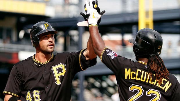First baseman Garrett Jones, left, and Pirates teammate Andrew McCutchen have been two of the team's stalwarts at the plate this season.