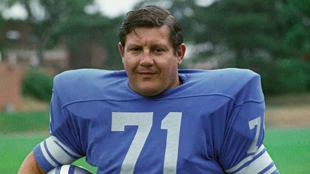Alex Karras, seen with the Detroit Lions near the end of his career, had recently suffered kidney failure and been diagnosed with dementia. He also suffered from heart disease and stomach cancer.
