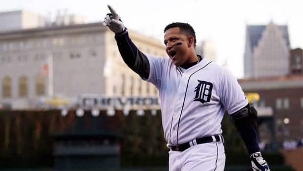The Tigers' Miguel Cabrera celebrates after hitting a two run home run in the fourth inning during Game 4 of the American League championship series against the New York Yankees on Thursday in Detroit.