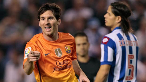 Barcelona's Lionel Messi celebrates his goal against Deportivo la Coruna at the Riazor stadium in La Coruna, Spain on Saturday.