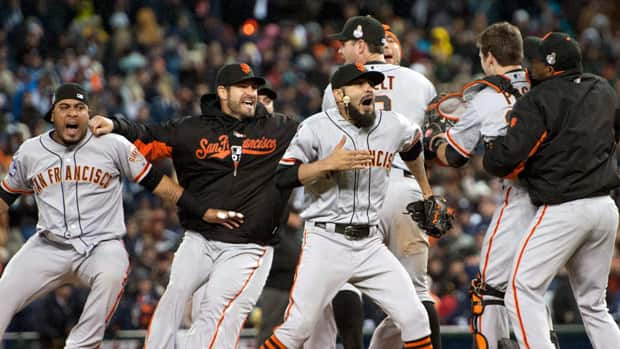 The San Francisco Giants celebrate defeating the Detroit Tigers in Game 4 of baseball's World Series on Sunday.