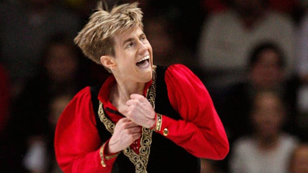 Canada's Jeffrey Buttle is seen here competing in the men's free skate at the 2008 world figure skating championships in Sweden, where he won a gold medal.