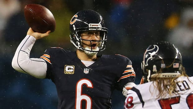 Quarterback Jay Cutler's status for Monday's game against San Francisco was in question after he sat out the second half of Sunday's loss to Houston. The Bears believe he was injured on a helmet-to-helmet hit by the Texans' Tim Dobbins.