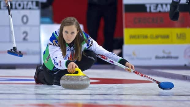 Ontario skip Rachel Homan delivers a stone during The Rogers Masters in Brantford, Ont. on Friday, Nov.16, 2012.