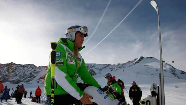 Lindsey Vonn warms up during a course inspection on the glacier of Soelden, in Austria, Friday, Oct .26, 2012. After a brief stint in hospital earlier this week, she hopes to return to the slopes this weekend.