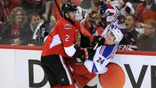 Ottawa Senators defenceman Jared Cowen, left, underwent hip surgery and is expected to be out six to eight months.