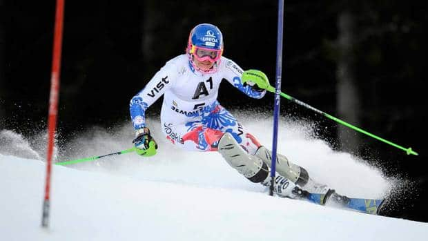 Slovakia's Veronika Velez Zuzulova speeds to victory under the lights in a women's World Cup slalom in Semmering, Austria on Saturday.