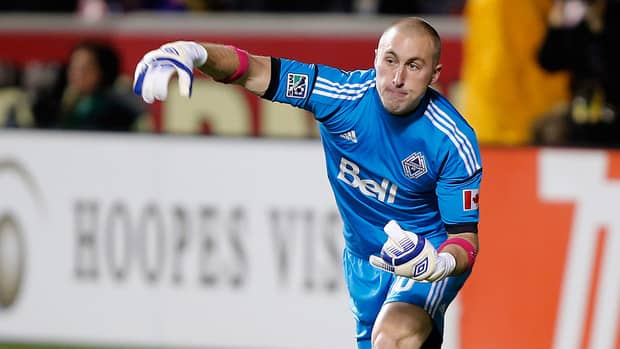 Vancouver Whitecaps goalie Brad Knighton throws the ball down field during a game against Real Salt Lake on Oct. 27, 2012 at Rio Tinto Stadium in Sandy, Utah.