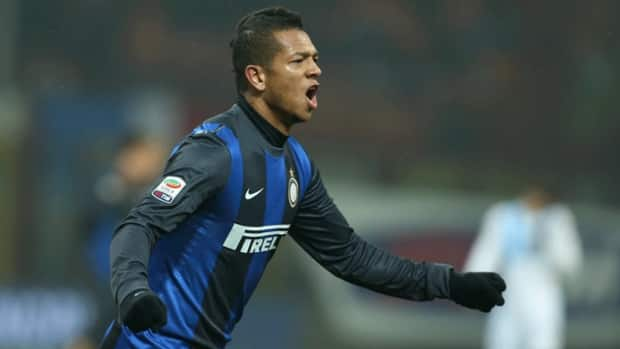Inter Milan midfielder Fredy Guarin celebrates after scoring against Pescara in Milan on Saturday.