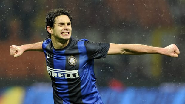 Andrea Ranocchia of Inter celebrates scoring against Bologna at Stadio Giuseppe Meazza on January 15, 2013 in Milan, Italy.
