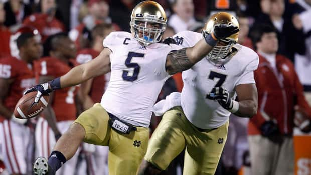 Nortre Dame linebacker Manti Te'o (5) finished second in the Heisman voting this season.