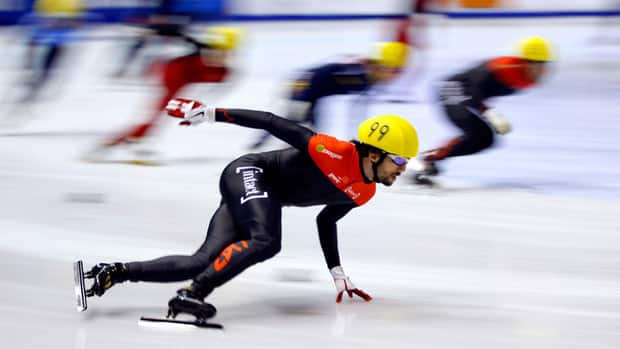 Charles Hamelin, seen here competing in Calgary last October, won the men's 500 metres at the Canadian short-track speed skating championships in Montreal on Saturday.
