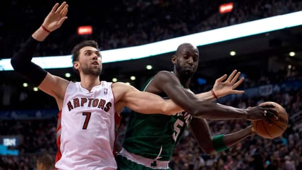 Toronto Raptors forward Andrea Bargnani, left, is out rebounded by Boston Celtics forward Kevin Garnett on Wednesday night in Toronto.