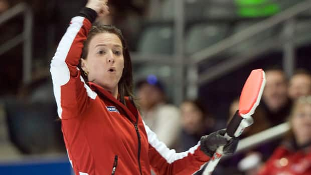 Team Canada skip Heather Nedohin reacts after a shot during the sixth draw against Team Quebec at the Scotties Tournament of Hearts on Monday.