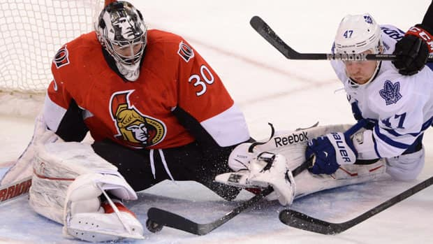 Ben Bishop, shown in Saturday's win over Toronto, was thrust into action after Craig Anderson went down to injury.