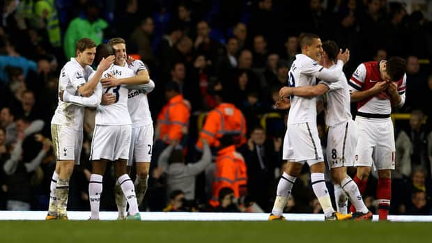 Spurs players celebrate against Arsenal at White Hart Lane on March 3, 2013 in London, England.