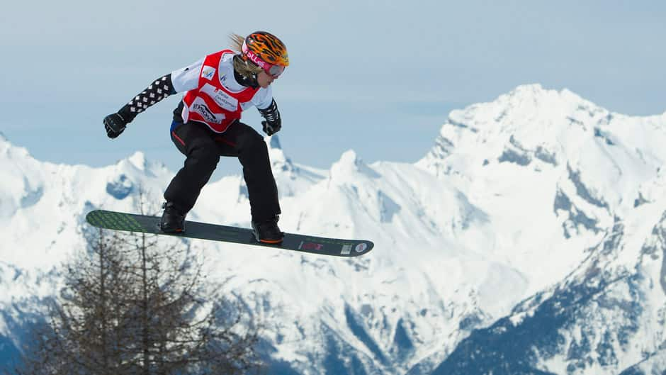 Dominique Maltais of Canada competes during the women's World Cup Snowboard Cross final in Veysonnaz, Switzerland on Saturday.