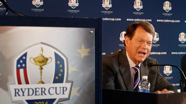 Tom Watson speaks upon being introduced as Ryder Cup captain in December.