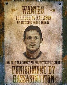This Matt Cooke Wanted poster will be quite visible from section 303 at Ottawa's Scotiabank Place on Monday night along with other signs directed at the Penguins forward.