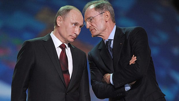 Russian President Vladimir Putin, left, listens to Jean-Claude Killy, Chairman of the IOC Coordination Commission for Sochi 2014, during a February summit.