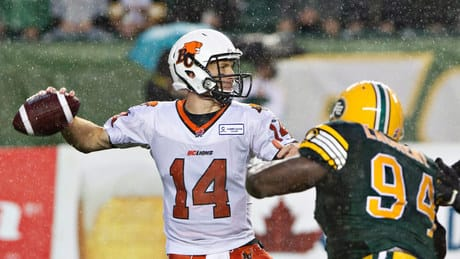 Travis Lulay, Lions outlast Eskimos in rain-soaked game