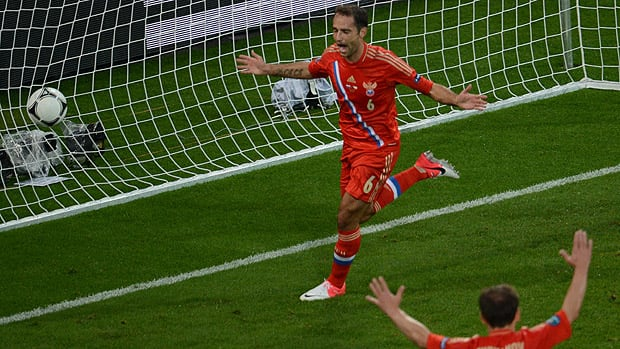 Russian midfielder Roman Shirokov, Centre, celebrates after scoring a goal during their match vs. the Czech Republic.