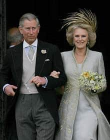 Prince Charles and his bride Camilla, Duchess of Cornwall, leave St George's Chapel after the church blessing of their civil wedding ceremony (AP photo)