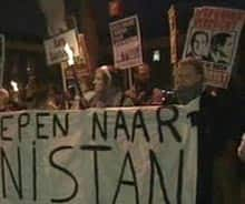 Protest outside the Dutch parliament