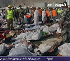 Bodies%20of%20victims%20of%20a%20stampede%20in%20Mina,%20Saudi%20Arabia%20during%20a%20ritual%20marking%20the%20last%20day%20of%20the%20hajj%20on%20Thursday,%20Jan.%2012.%20%20%28AP%20Photo/Al%20Arabiya,%20via%20AP%20television%20News%29