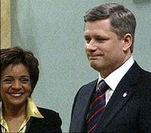 Stephen Harper, with the Governor General, moments after being sworn in as Canada's 22nd prime minister on Monday.