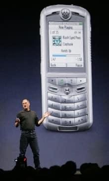 Apple Computers Inc. CEO Steve Jobs introduces the first mobile phone with iTunes (AP Photo)