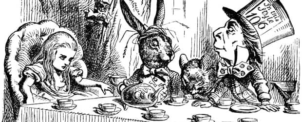 A detail from an illustration by Sir John Tenniel depicting Alice with the March Hare, Hatter and Dormouse at the Mad Tea Party. From Alice's Adventures in Wonderland by Lewis Carroll.